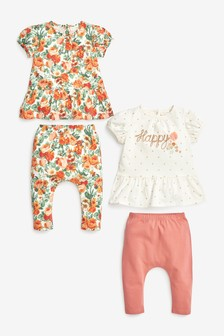 Rust 4 Piece Floral T-Shirt And Leggings Set (0mths-2yrs)