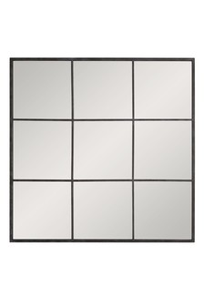 Black Metal Window Square Mirror