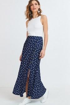 Navy Spot Jersey Maxi Skirt