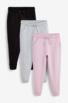 Black/Grey/Pink 3 Pack Core Plain Joggers (3-16yrs)