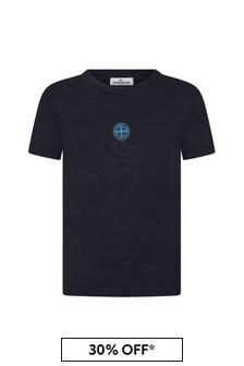 스톤 아일랜드 주니어 보이즈 네이비 코튼 티셔츠