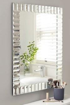 Silver Deco Glass Rectangular Mirror
