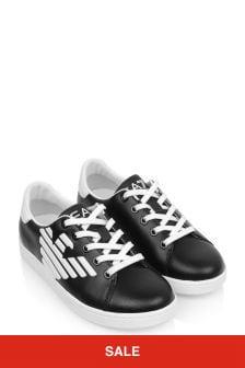 EA7 Emporio Armani Kids Black & White Leather Classic Trainers
