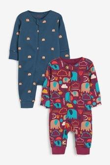 Purple Elephant 2 Pack Zip Sleepsuits (0-3yrs)