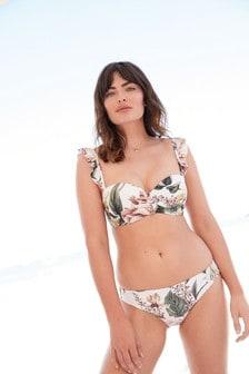 Cream Floral Shape Enhancing Bandeau Bikini Top