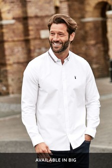 White Stretch Oxford Tipped Collar Long Sleeve Shirt