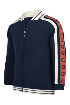 GUCCI Kids Boys Red Cotton Logo Zip Up Top