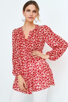 Floral Longline Tiered Blouse