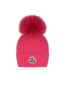Moncler Enfant Girls Pink Wool Hat With Pom Pom