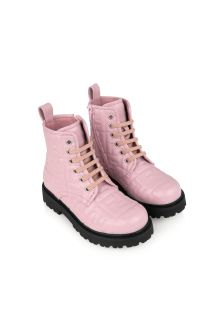 Fendi Kids Girls Pink Leather Logo Boots