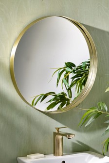 Gold Gold Round Wall Mirror