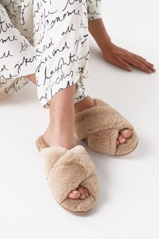 Camel Recycled Faux Fur Slider Slippers