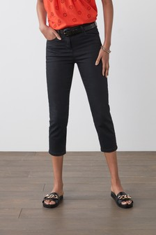 Washed Black Cropped Straight Jeans