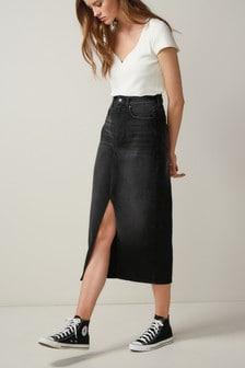 Black Front Split Denim Midi Skirt