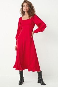 Red Square Neck Satin Midi Dress