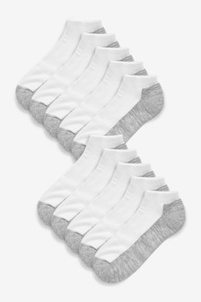 White/Grey Cushioned Trainer Socks