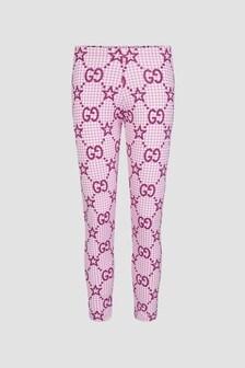 GUCCI Kids Girls Pink Leggings