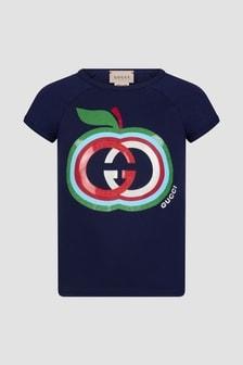 GUCCI Kids Girls Navy T-Shirt