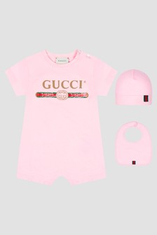 GUCCI Kids Baby Pink Rompersuit