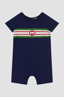 GUCCI Kids Baby Navy Rompersuit