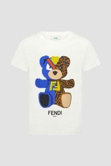 Fendi Kids Boys White T-Shirt