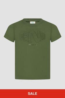 Fendi Kids Boys Khaki T-Shirt