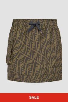 Fendi Kids Girls Brown Skirt