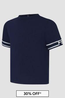 Fendi Kids Baby Boys Navy T-Shirt