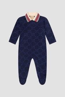GUCCI Kids Baby Boys Navy Sleepsuit