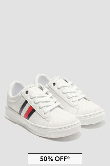 Tommy Hilfiger Boys White Trainers