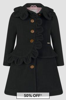 Jessie And James Girls Black Scallop Coat