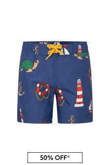 Mini Rodini Boys Navy Swim Shorts