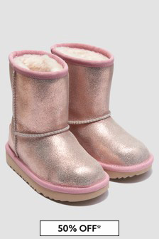 UGG Girls Pink Classic Metal Glitter Boots