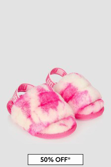 UGG Girls Pink Fluff Yeah Marble Slides