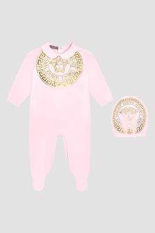 Versace Baby Girls Pink Sleepsuit Gift Set