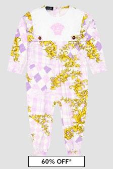 Versace Baby Girls White Sleepsuit