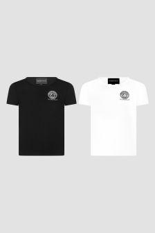 Versace 소년 화이트 티셔츠 2 팩