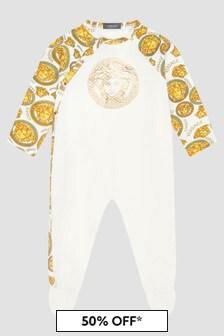 Versace Baby White Sleepsuit