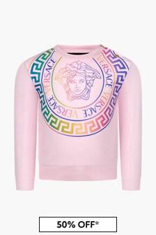 Versace Baby Girls Pink Sweat Top
