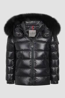 Moncler Enfant Girls Black Bady Fur Jacket