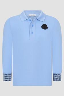 Moncler Enfant Boys Blue Long Sleeve Polo Shirt