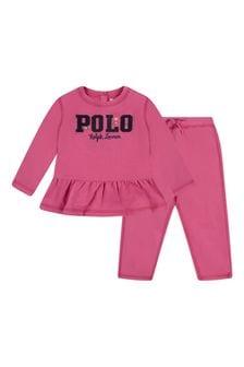 Ralph Lauren Kids Baby Girls Pink Cotton 2 Piece Set