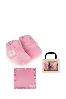 UGG Pink Bixbee Booties & Lovey Blanket Gift Set