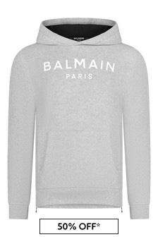 Balmain Boys Grey Cotton Hooded Sweater