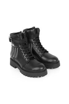 Balmain Kids Black Leather Chain Boots