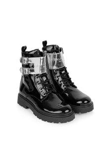 Balmain Kids Black Leather Boots