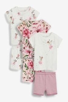 Ecru/Pink 3 Pack Fairy Cotton Short Pyjamas (9mths-8yrs)