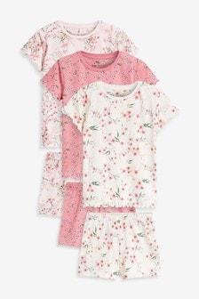 Ecru/Pink 3 Pack Oriental Floral Cotton Short Pyjamas (3-16yrs)