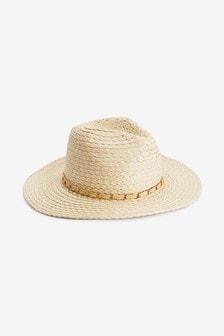 Neutral Chain Detail Woven Panama Hat