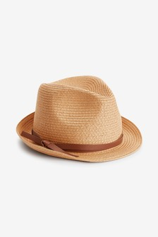 Neutral Weave Tie Detail Trilby Hat